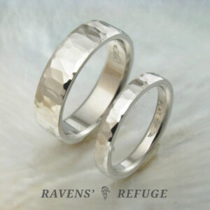 unique hammered wedding bands – matching platinum rings
