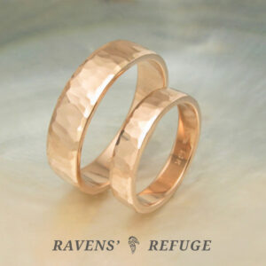 hammered rose gold rings – matching wedding bands