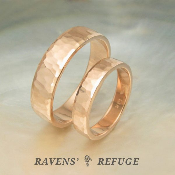 Hammered Rose Gold Rings Matching Wedding Bands Ravens