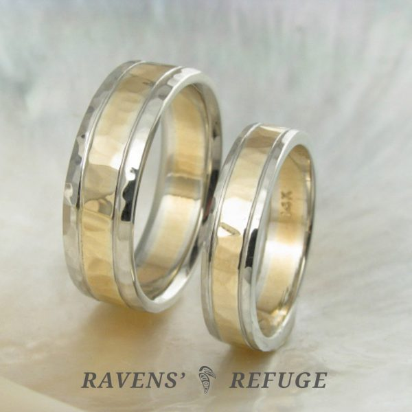 unique two tone wedding band set – hand hammered wedding rings