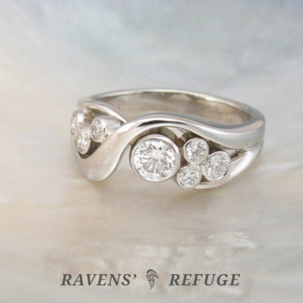diamond bezel bubble ring – handmade engagement ring