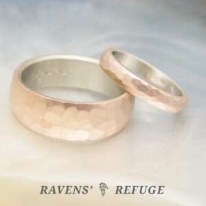 rustic wedding band set – hammered half round rings