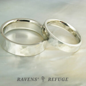 hammered white gold wedding bands, comfort fit