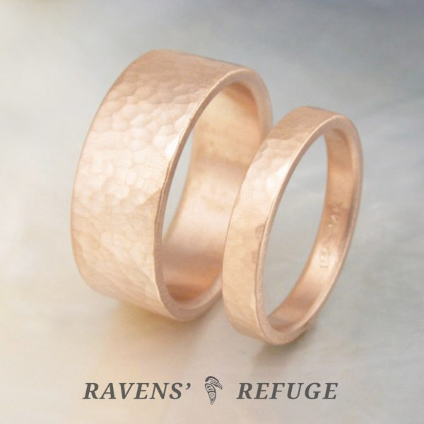 handmade rose gold wedding bands – textured gold wedding rings