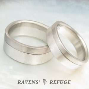 matching platinum and grey gold wedding bands, artisan hand forged
