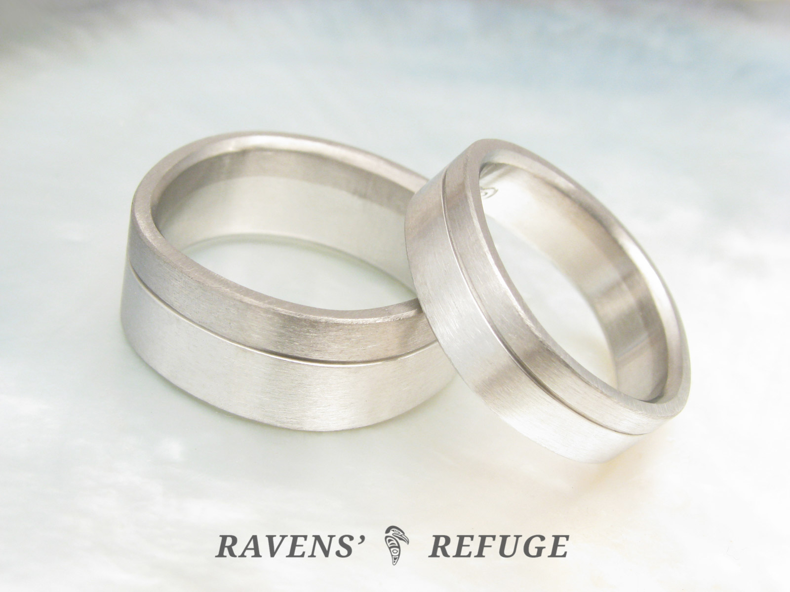 Matching Platinum And Grey Gold Wedding Bands Artisan Hand Forged Ravens' Refuge: Matching Platinum Wedding Bands At Reisefeber.org