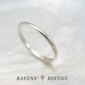 dainty platinum ring – 1.5mm milgrain wedding band