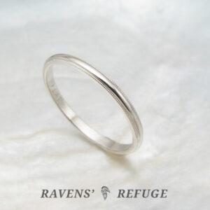 dainty platinum ring – 1.5mm milgrain wedding band