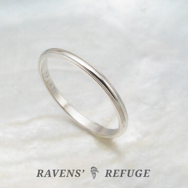 Dainty Platinum Ring 1 5mm Milgrain Wedding Band Ravens Refuge