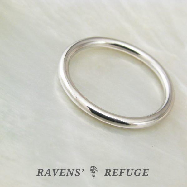 slender wedding band – dainty full round hand forged ring
