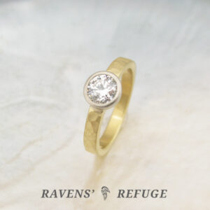 hammered eco friendly engagement ring with conflict free diamond