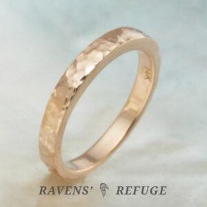 artisan hammered gold ring – organic stacking ring
