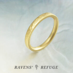 hand forged 2.5mm 18k gold ring – rustic hammered wedding band