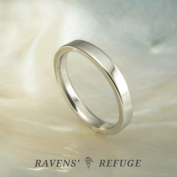 simple flat wedding band – 2.5mm platinum wedding ring