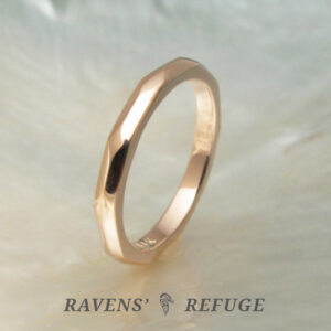 faceted gold wedding band / stacking ring
