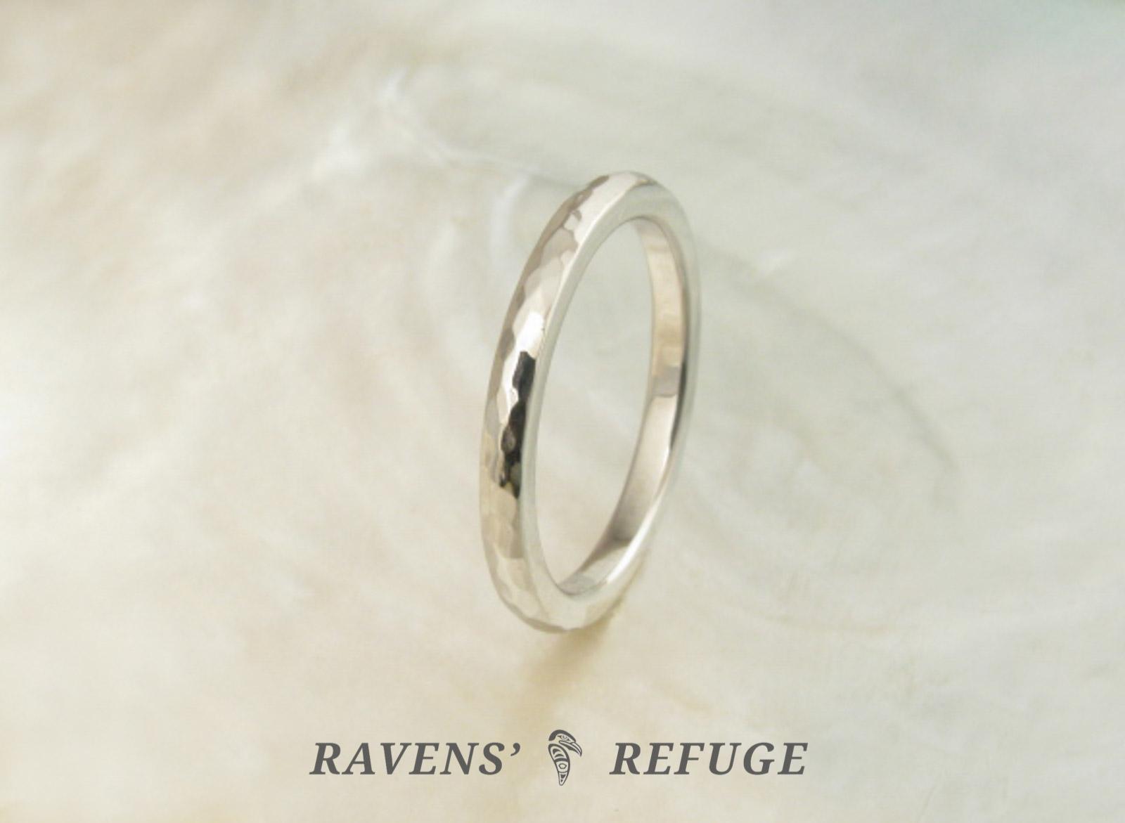handmade wedding band hammered platinum ring ravens