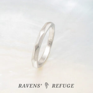 artisan handmade wedding band – platinum stacking ring
