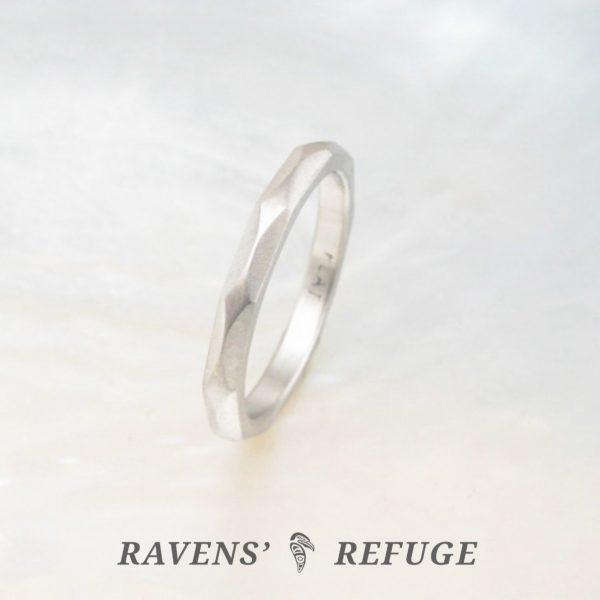 artisan handmade wedding band – platinum stacking ring
