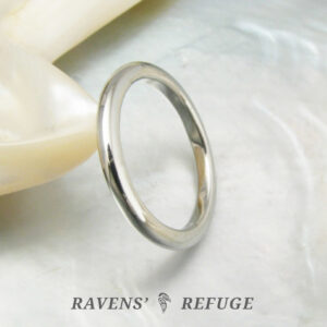 hand forged high dome wedding band – platinum stacking ring
