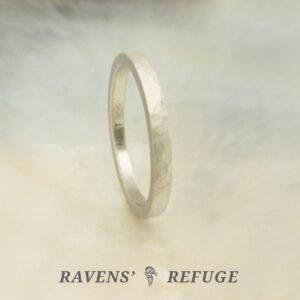 handmade platinum ring with matte finish – hammered wedding band