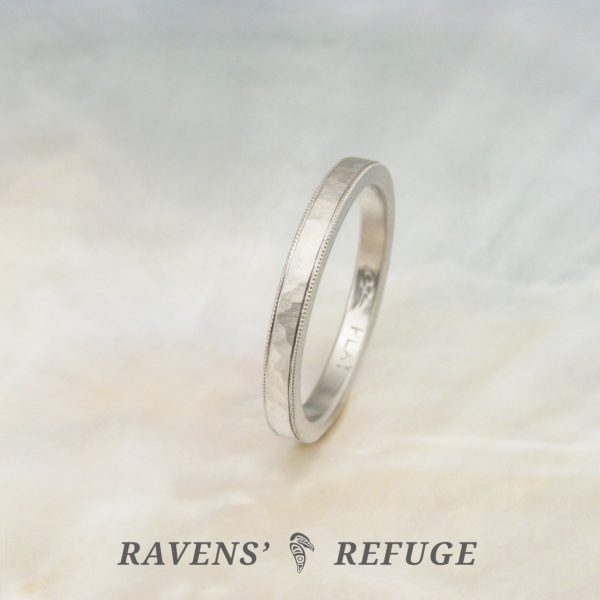 hammered milgrain wedding band – platinum wedding ring, hand forged