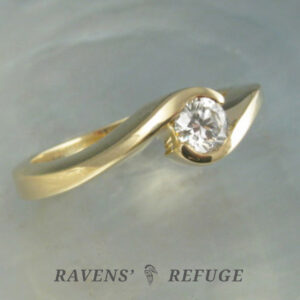 handmade bypass engagement ring – swirl diamond ring