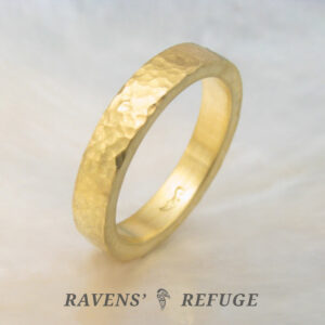 hammered 22k gold band ring – artisan wedding band
