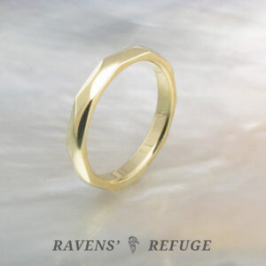 unique wedding band – handmade faceted gold ring