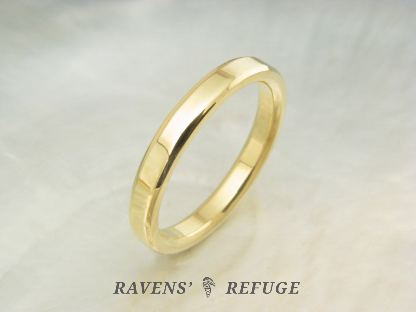 simple wedding ring – hand forged gold band - Ravens' Refuge