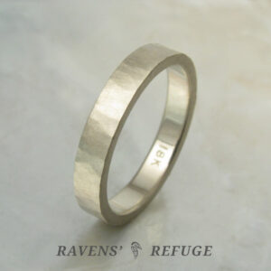 organic earthy wedding band – rustic white gold wedding ring