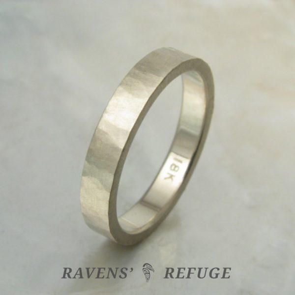organic earthy wedding band – rustic white gold wedding ring