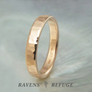 hand beaten 3mm 18k rose gold ring – unique hammered wedding band