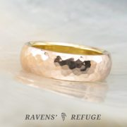 two tone liner wedding band – hammered gold ring