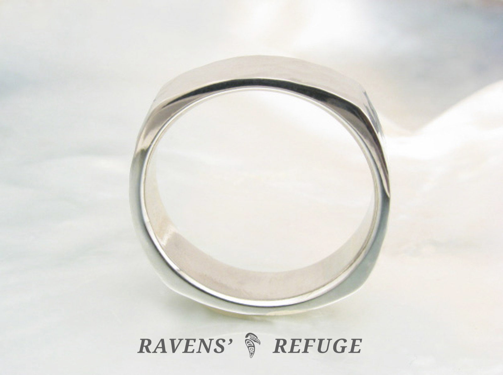 Hammered Square Ring Modern Wedding Band For Men