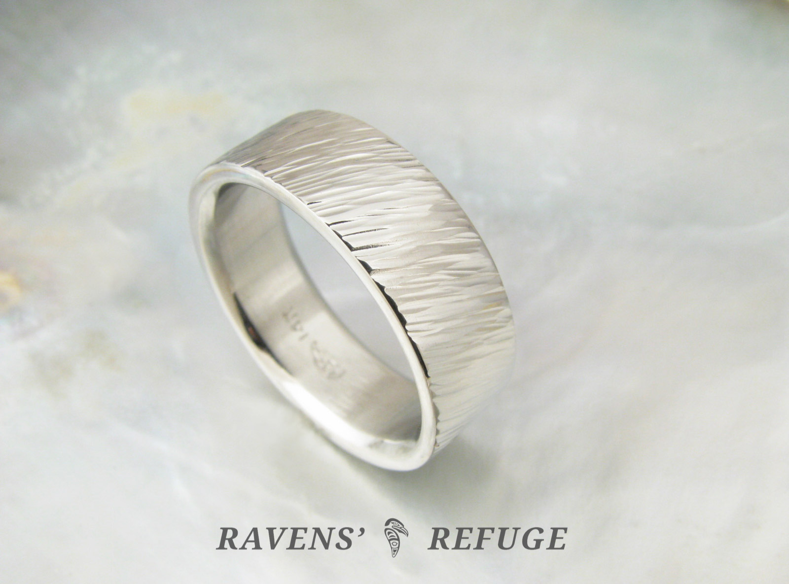 Unconventional Mens Wedding Band Textured Ring