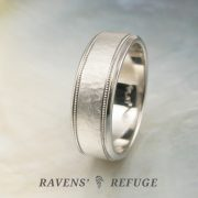 hand forged men's 7mm platinum double milgrain wedding band with hammered finish