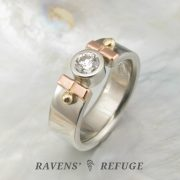 tri color engagement ring with bezel diamond, artisan hand forged