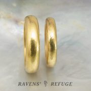 thick gold wedding bands with rustic hammered finish