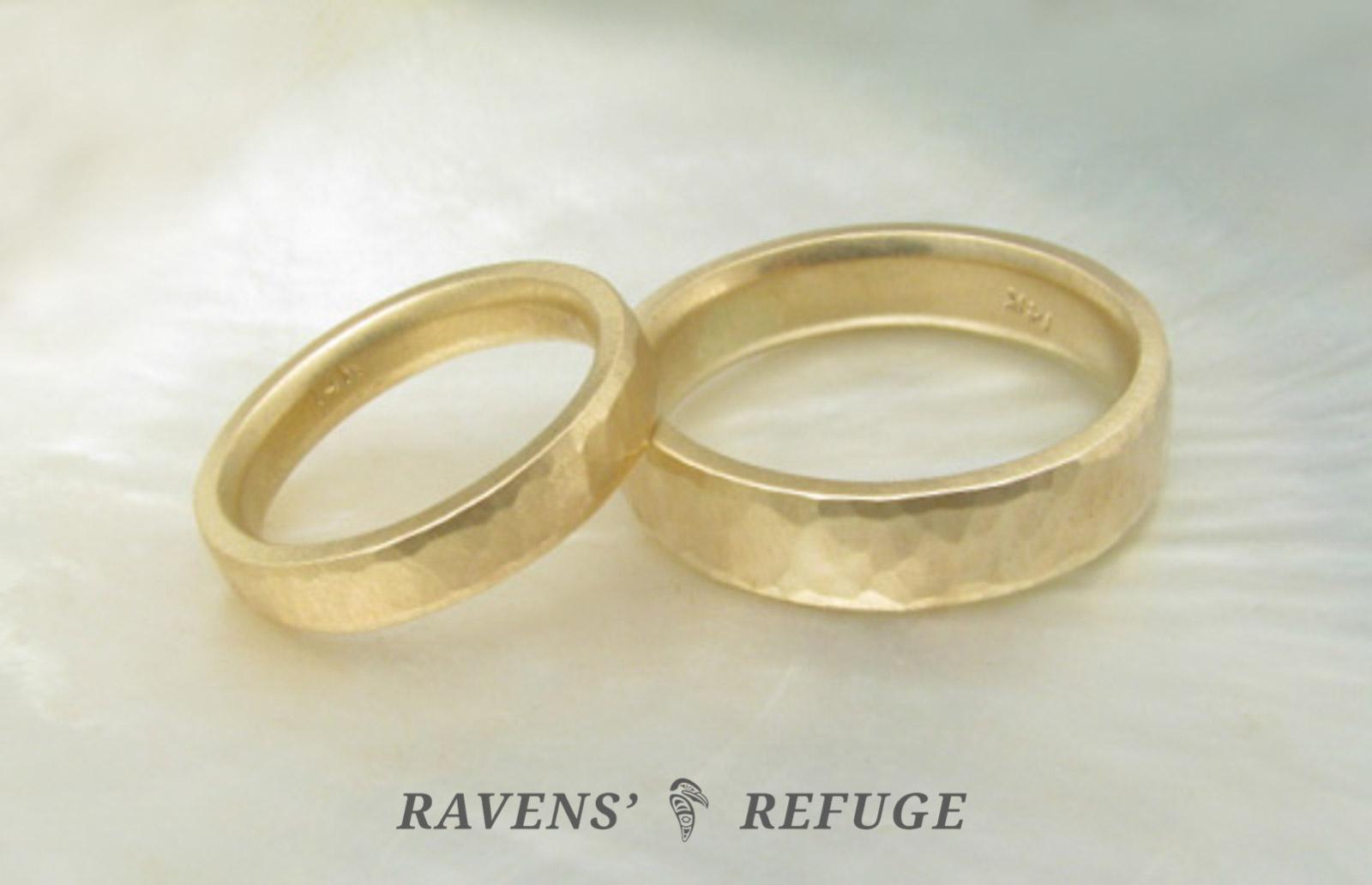 hammered gold rings � matching wedding bands ravens refuge