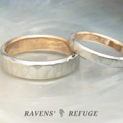 unique white gold wedding band set