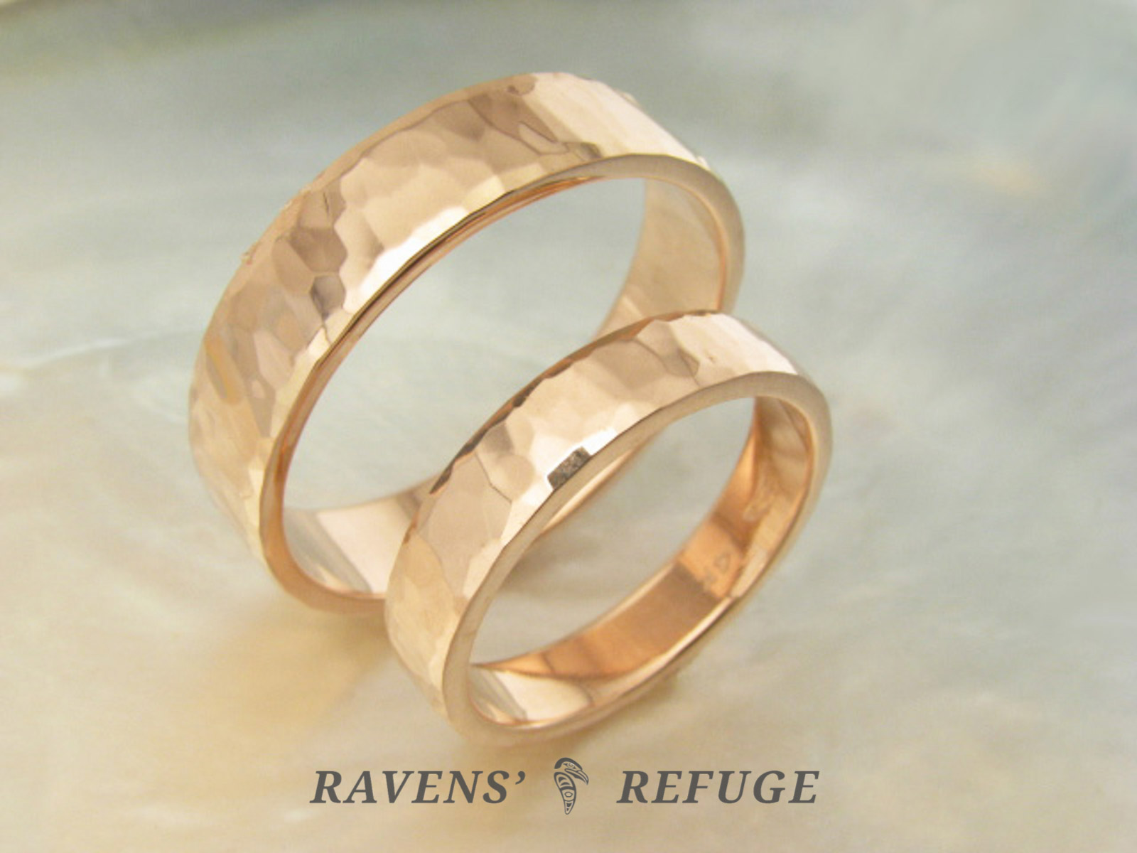 Hammered Rose Gold Rings Matching Wedding Bands Ravens