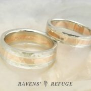 two tone wedding ring set, white and rose gold