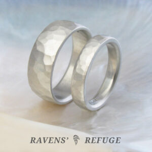 rustic wedding rings – his hers wedding band set