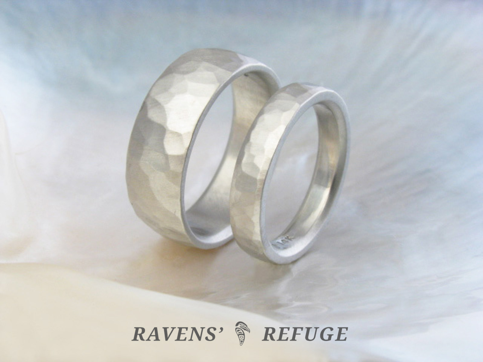 rustic wedding rings – his hers wedding band set - Ravens\' Refuge