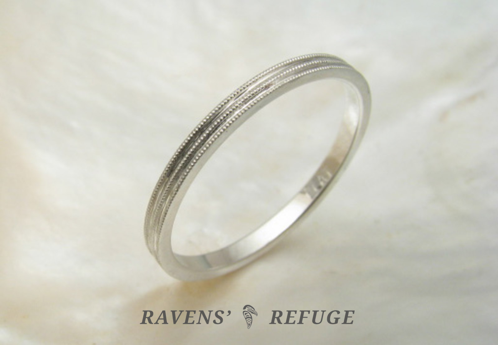 Delicate Wedding Band With Milgrain Platinum Stacking