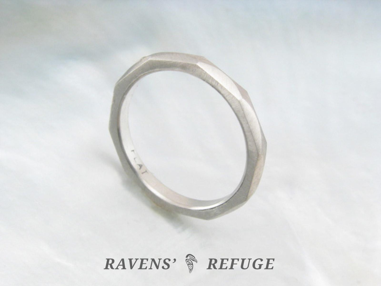 artisan handmade wedding band platinum stacking ring Ravens Refuge