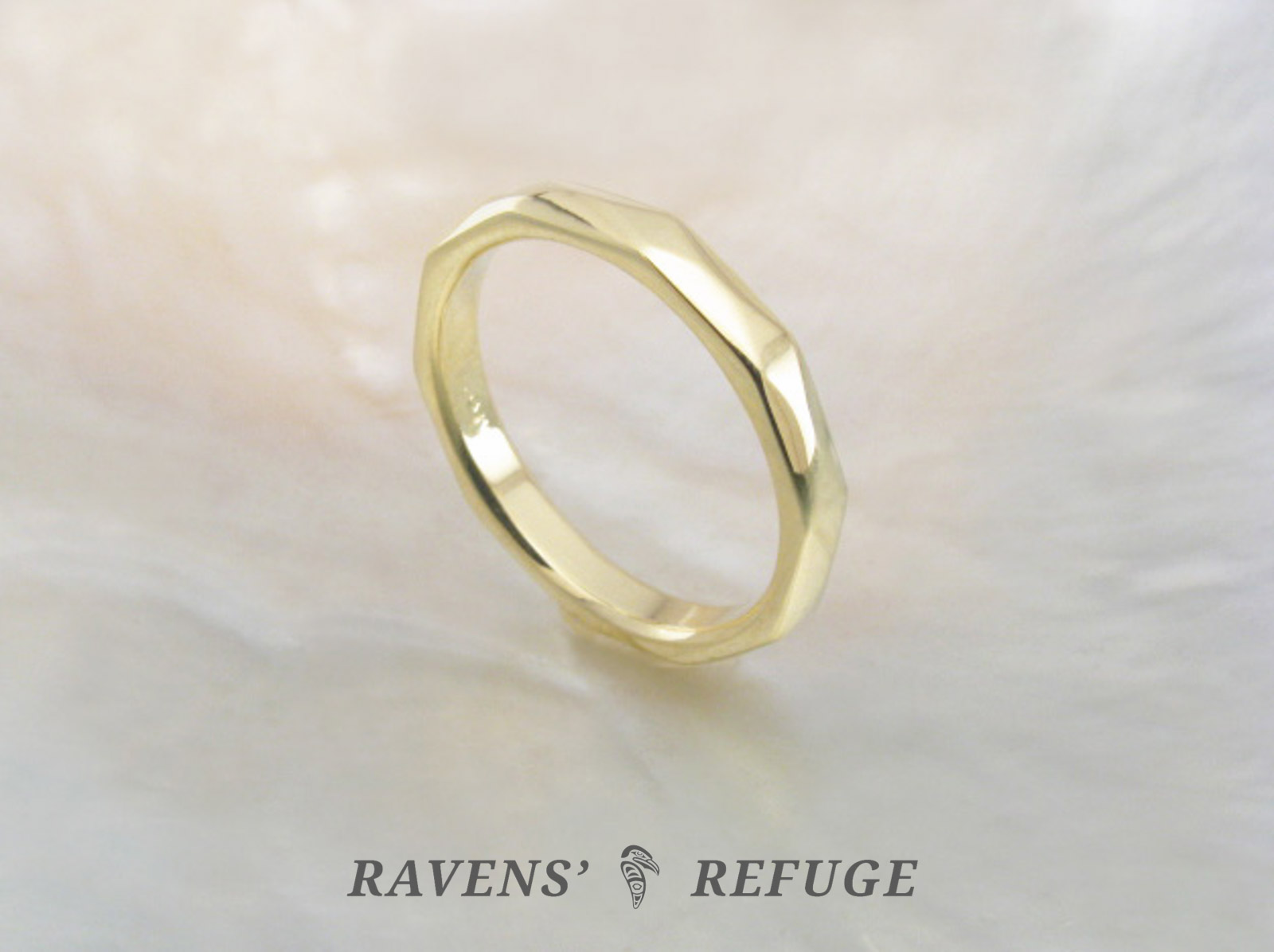 Unique Wedding Bands.Unique Wedding Band Handmade Faceted Gold Ring