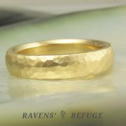 4mm hammered domed wedding ring with brushed finish