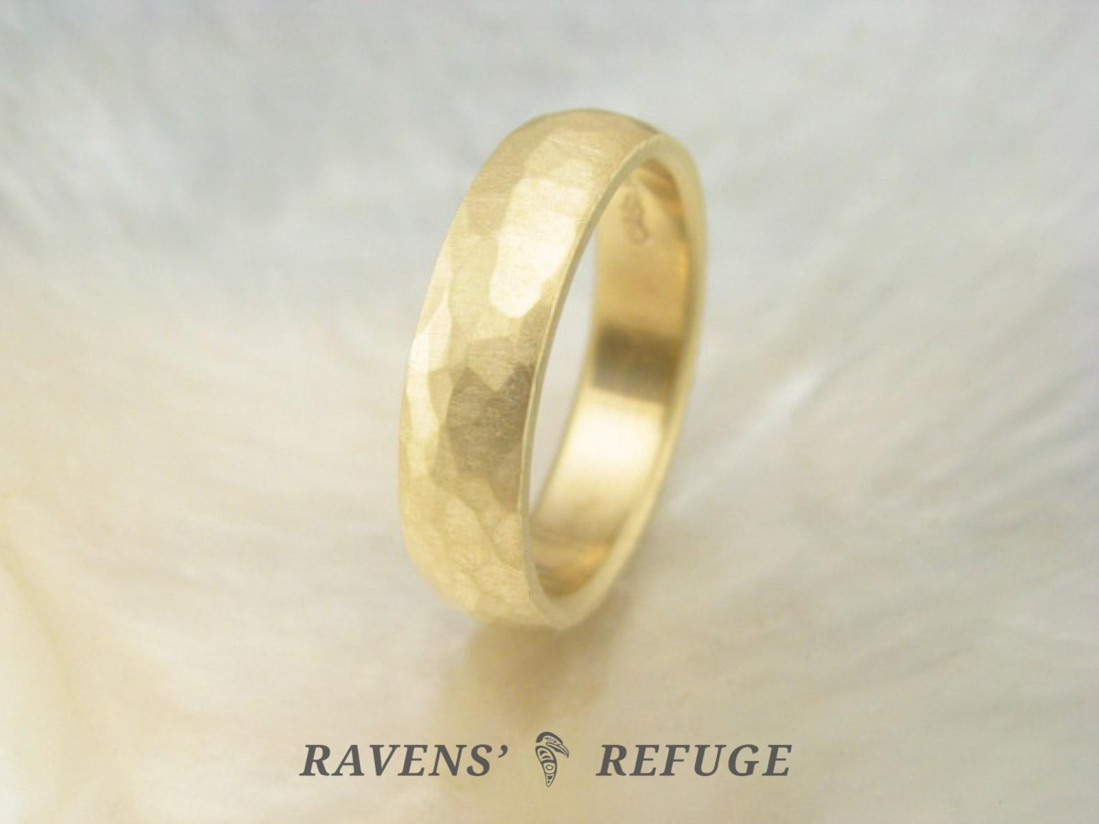 Organic Wedding Band Hammered D Shape Wedding Ring