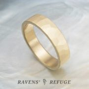 rustic hammered ring – organic wedding band